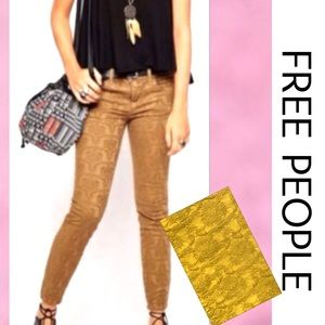 FREE PEOPLE Gold Jacquard Skinny Jeans 27